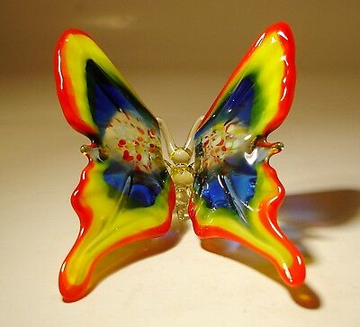 "Blown Glass Figurine ""Murano"" Art Red, Yellow and Blue BUTTERFLY"