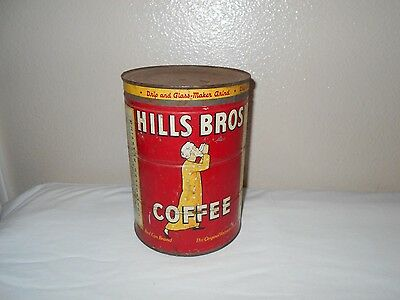 Vintage Rare Hills Bros Coffee Red Can Tin 2 LB Pounds~ Empty