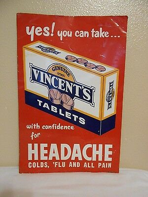 Vintage VINCENT'S Tablets Headache Advertising Tin/Metal Sign