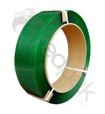 Strapping Polyester (PET) 16mm (width) x 1100m (length) Green EMBOSS  #18201