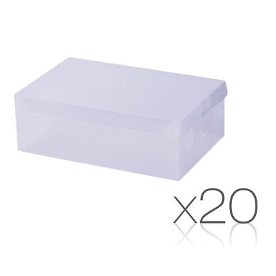 20X Transparent Clear Shoe Storage Box Foldable Portable Stackable Case Wardrobe