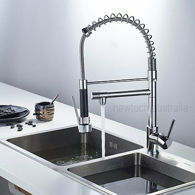 Chrome Black Pull Out Down Tap Tall Kitchen Sink Mixer Faucet Swivel Spout Spray