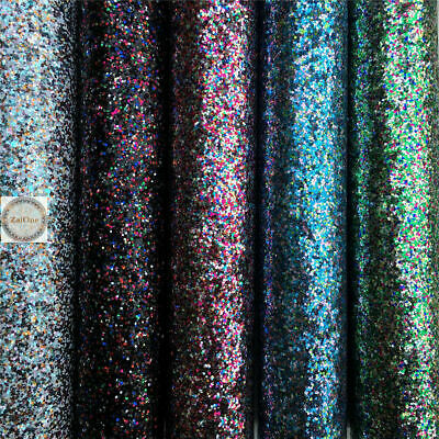 Colorful Chunky Glitter Systhetic Leather Fabric Bows Craft DIY Vinyl Sheets