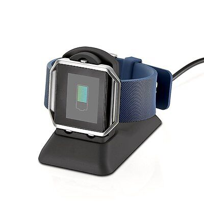 Cradle Holder Dock Charger + USB Charging Cable For Fitbit Blaze Smart Watch