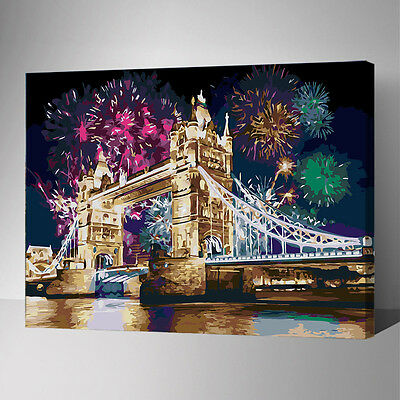 Framed Painting by Number kit England London Tower Bridge Night Fireworks YZ7408