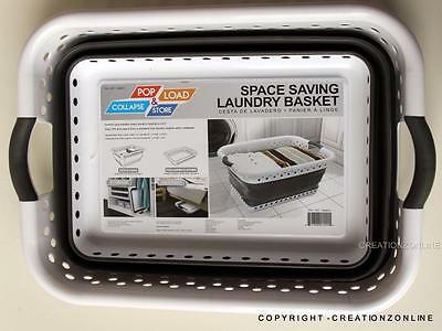 Pop & Load Collapse & Store Space Saving Collapsible Laundry Basket Bag MultiUse