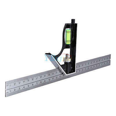 "300mm 12"" Adjustable Engineers Combination Square Set Kit Right Angle Ruler LJ"