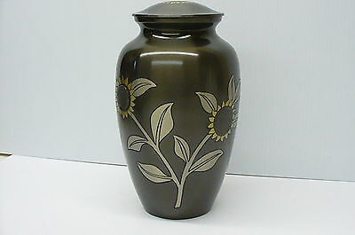 Dark brown funeral cremation urn human ashes engraved sunflowers Urne funéraire