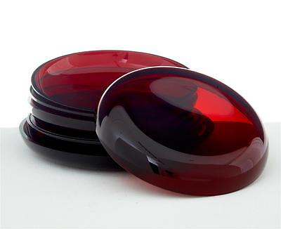 7 1950's SCANDINAVIAN RED ART GLASS PLATES BY MONICA BRATT