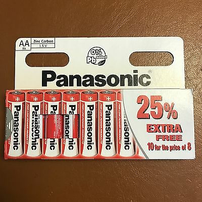 10 x AA Genuine PANASONIC Zinc Carbon Batteries - New R6 1.5V Expiry 11/2019