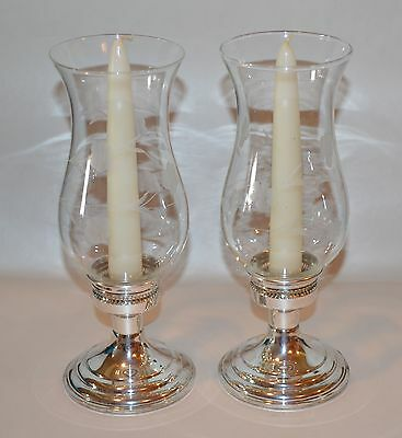 2 Preisner Sterling Silver Weighted Candleholders With Etched Glass Shades 899