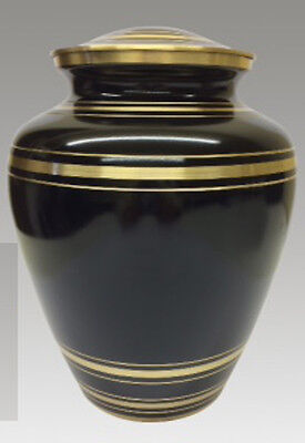 Black funeral cremation urn human ashes with gold bands Urne funéraire noir or