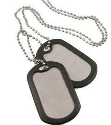 Dog Tag Tags 2 Large + Chain + Silencer Silver Military ID GI Army Style Steel