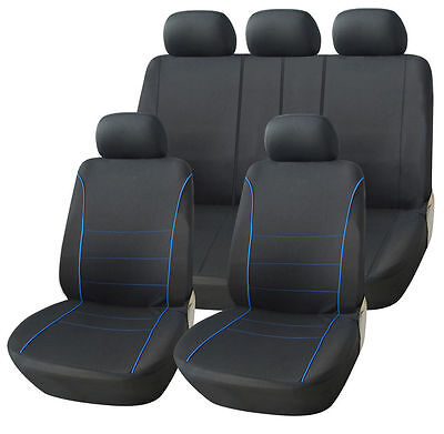 Ford Focus Saloon 98-04 Black Sport Seat Covers With Blue Piping