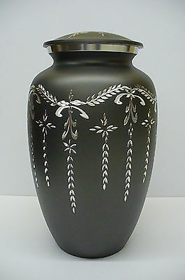 Aluminum dark grey Funeral cremation urn  human ashes engraved silver designs