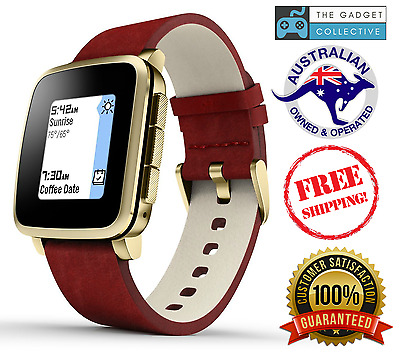 Pebble Time Steel Smartwatch for Apple/Android Devices - Red & Gold