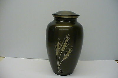 Dark grey Funeral cremation urn human ashes engraved silver wheat sheaves Urne