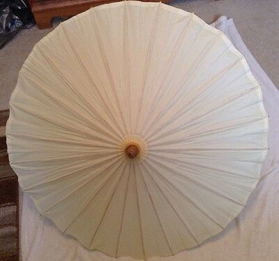 """Wood & Paper Umbrellas Parasols, full size 23"""" tall, open easily, latch"""