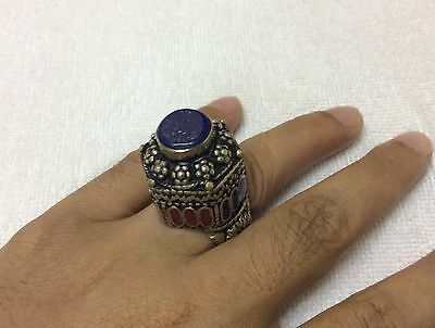 Men's Lapis Rings Multi Stone Agate Inlaid Islamic Vintage Afghan Antique 8.5