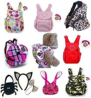 Teddy Bears Clothes fits on Build a Bear Teddies Bag Backpack Rucksack Doll Bags