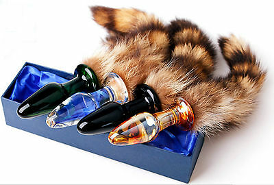 Faux Fur Fox Cat Tail with Gold Metal glass Plug cosplay