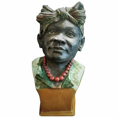 Portuguese Majolica Woman's Bust in Headdress and Coral Necklace, Ca. 1875