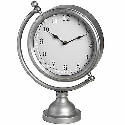 Silver Round Mantel Clock On Globe Frame- Sublime Addition To The Home.