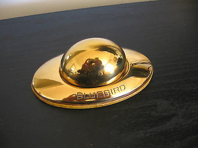 Vintage Bluebird Brass Gold Red Velvet Dome Ring Box