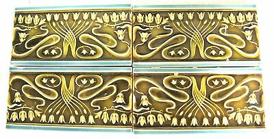 Antique - 4 Art Nouveau Majolica - Border Tiles C1900 green (#714)