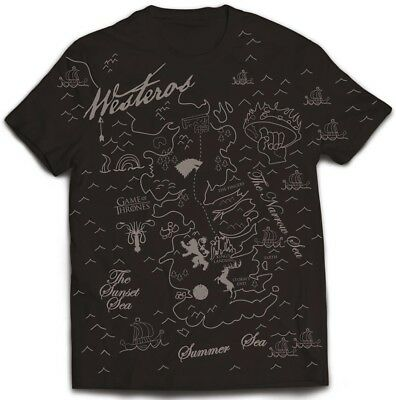 Game Of Thrones 'Westeros Map' T-Shirt - NEW & OFFICIAL!