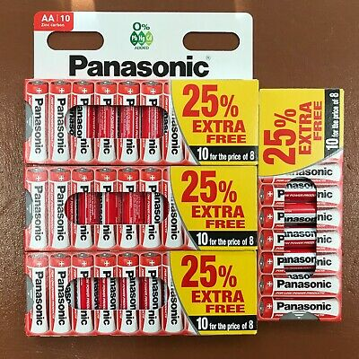 40 x AA Genuine PANASONIC Zinc Carbon Batteries - New R6 1.5V Expiry 2020