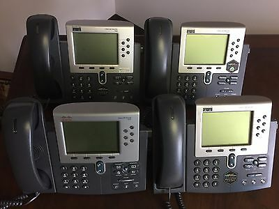 Lot of (4) Cisco CP-7960G VoIP 7960 Series Business Office Telephone w-Handsets