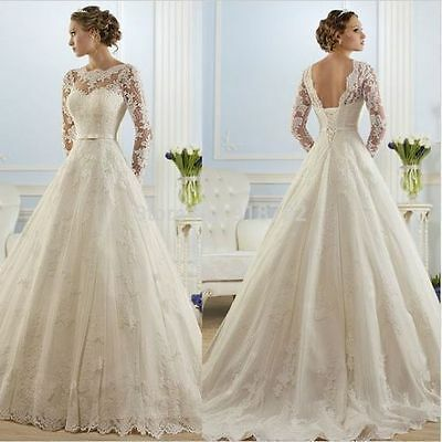 New Long sleeves New White/Ivory Lace Wedding Dress Bridal Gown Stock Size 6-16