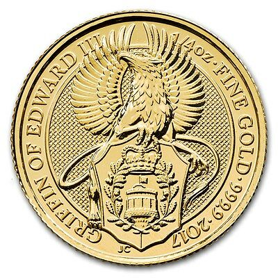 2017 Queen's Beast The Griffin 1/4 oz .9999 Gold Round Limited Bullion BU Coin