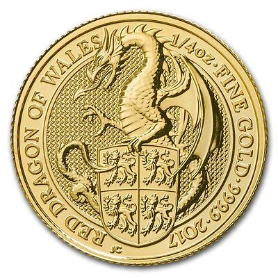 2017 Queen's Beast Red Dragon 1/4 oz .9999 Gold Round Limited Bullion BU Coin