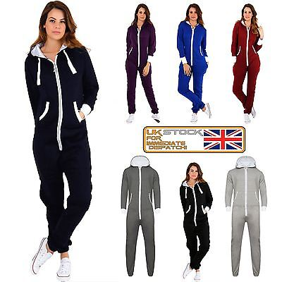 New Ladies Womens All In ONE Hooded ZIP UP Jumpsuit Playsuit UK Tracksuit