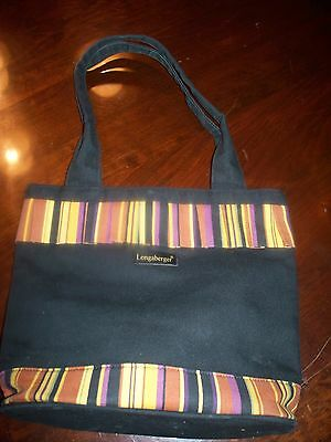 Longaberger Homestead Collection Black & Stripe Tote