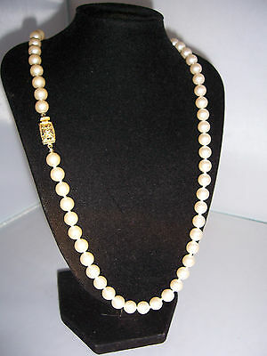 Original Vintage MONET Long Glass Pearl KNOTTED Necklace