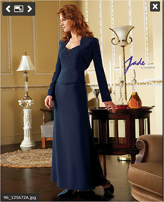 New! Jade Mother of the Bride/Groom  Evening 2 pc. Beaded Navy Dress Size 14