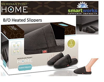 Meridian Point Home Heated Slippers- Large ( M 9-10, W 11-12) BROWN