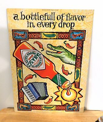 "New Old Stock 1998' 12"" x 17"" Vintage Tabasco Metal Sign Rare!! Kitchen or Cave"