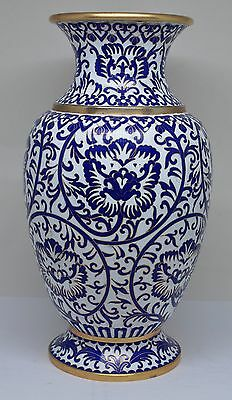 Vintage Chinese Blue and White Cloisonne Ginger Vase ~ 10'' Tall  ~
