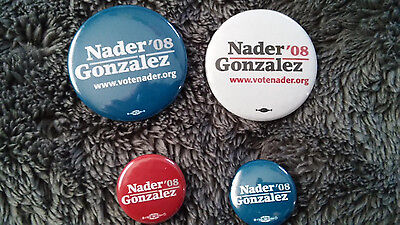 Ralph Nader for President 2008 campaign pin set of 2 - choose color - NEW