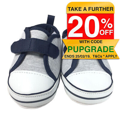 Baby Shoes/Pre Walkers/Slippers/Booties 3-6 Months Kids/Boys Grey/Blue Soft