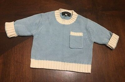 Rani Arabella Cashmere Sweater Baby Infant Size 6 Months Blue Cable Knit A90