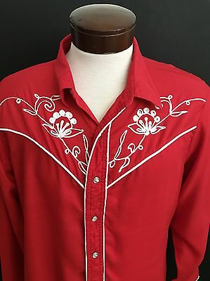 Vintage Mens Red Rayon Western Embroidered Trim Cowboy Shirt Made In Usa Xl