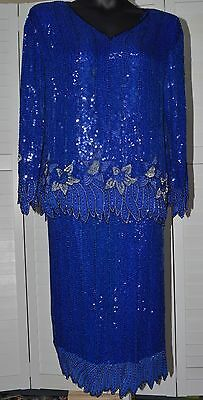 3028990bc5db0 Royal Feelings 100% Silk Blue Sequin Beaded 2 Piece Set Skirt Top Dress  Lined L