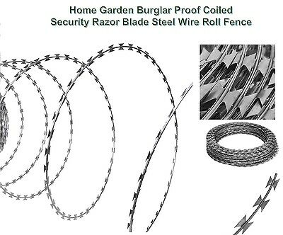 60m Home Burglar Proof Coiled Fence Security Razor Blade Barbed Steel Wire Roll