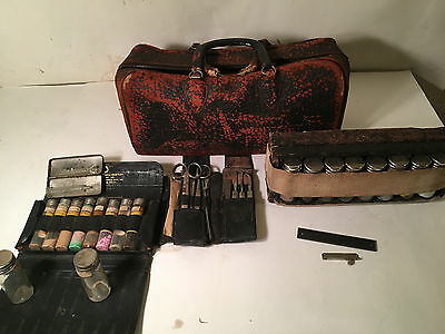 Antique Doctor Bag Black Leather Walrus? + Contents Antique Surgical Tools More
