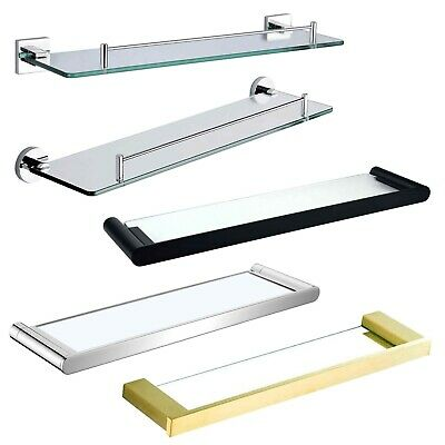 Bathroom Wall Mounted 500mm Shower Vanity Single Glass Shelf Storage Holder